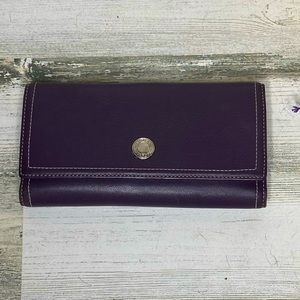 Coach Purple Leather Checkbook Trifold Wallet
